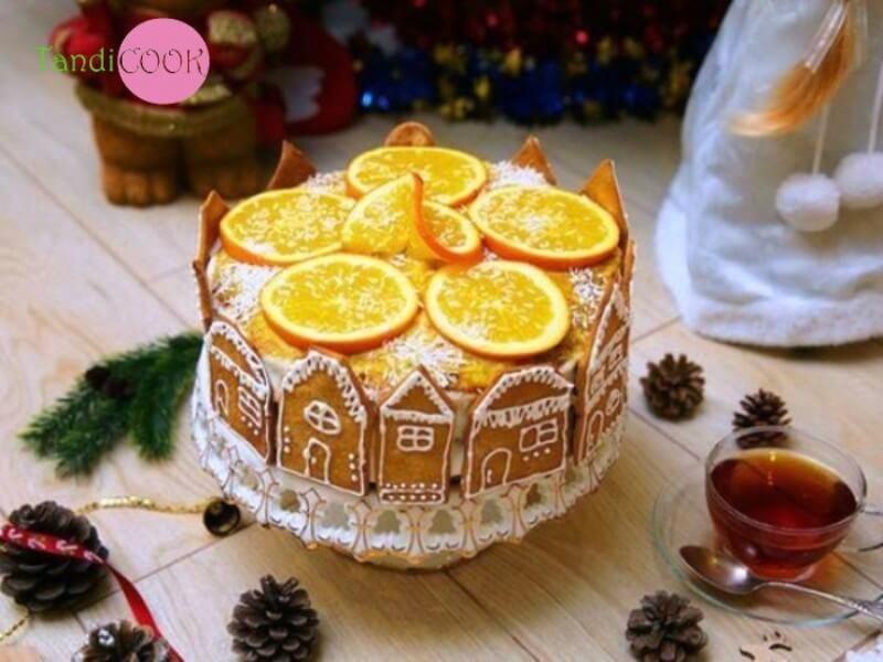 Новорічний торт з цитрусовими