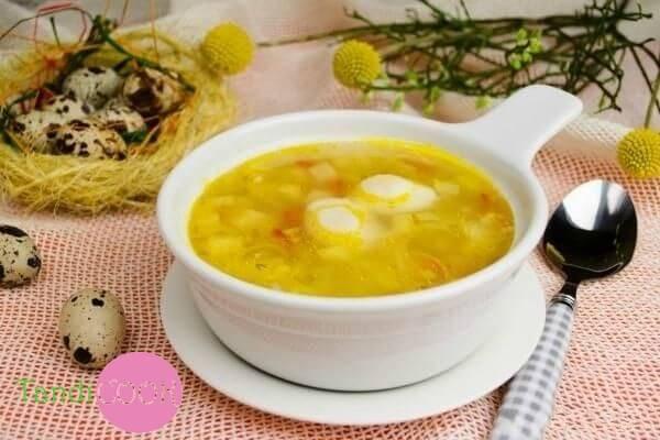 Суп з перепелиними яйцями