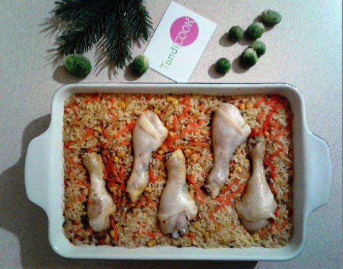 Курячі гомілки з рисом в духовці