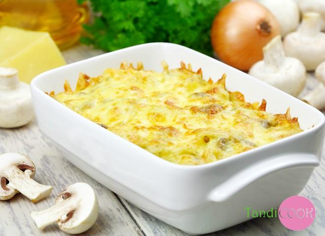 Пісні страви у піст: картопляне пюре, запечене з грибами